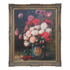 Framed Oil Still Life Painting of a Portrait Vase Filled with Flowers in Pinks