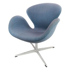 The Swan Chair, Model 3320, with Light Blue Fabric, by Arne Jacobsen, 2014