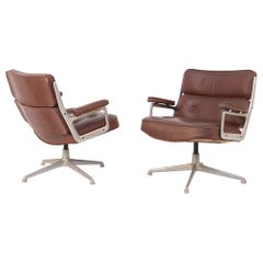 Pair of Herman Miller Chair Model Soft Pad in Brown Leather and Steel