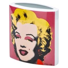 Porcelain Andy Warhol Marilyn Vase Rosenthal  Pop Mid-Century Design Blue Pink