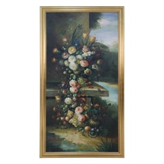 Large Framed Still Life Oil Painting of an Urn of Flowers on a Garden Bench