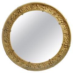French 19th C. Gilt Brass Circular Mirror