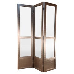 Mid-Century Silver Leaf and Glass Three Panel Room Divider Screen