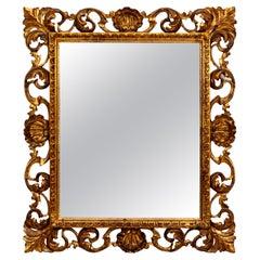 Hollywood Regency Seashell Motif Italian Giltwood Mirror