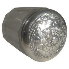 Antique English Silver Lidded Vanity Jar, Reynold's Angels, 1904