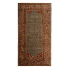 Antique Sultanabad Blue and Burgundy Wool Persian Rug with Gold-Brown Highlights