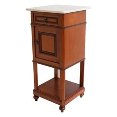 Antique French 19th Century Night stand / Bedside Table Carrara Marble
