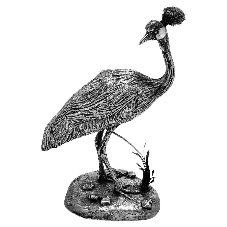 Sterling Silver Model Crowned Crane Bird Figurine Statue, 1988 / 1990