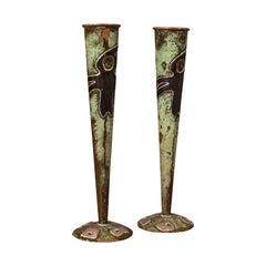 Pair of Antique Flute Vases, French, Copper, Posy, Art Nouveau Taste, Circa 1920