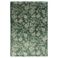 Rug & Kilim's European Style Rug Green Beige Floral Pattern