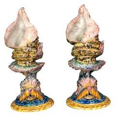 Pair of Italian Majolica Conch/Dolphin Vases