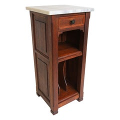 Antique French Art Deco Nightstand / Record Cabinet 1920 Solid Oak Marble Top