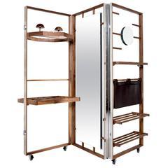 Expandable Cloth Valet Room Divider in Walnut by Naihan Li