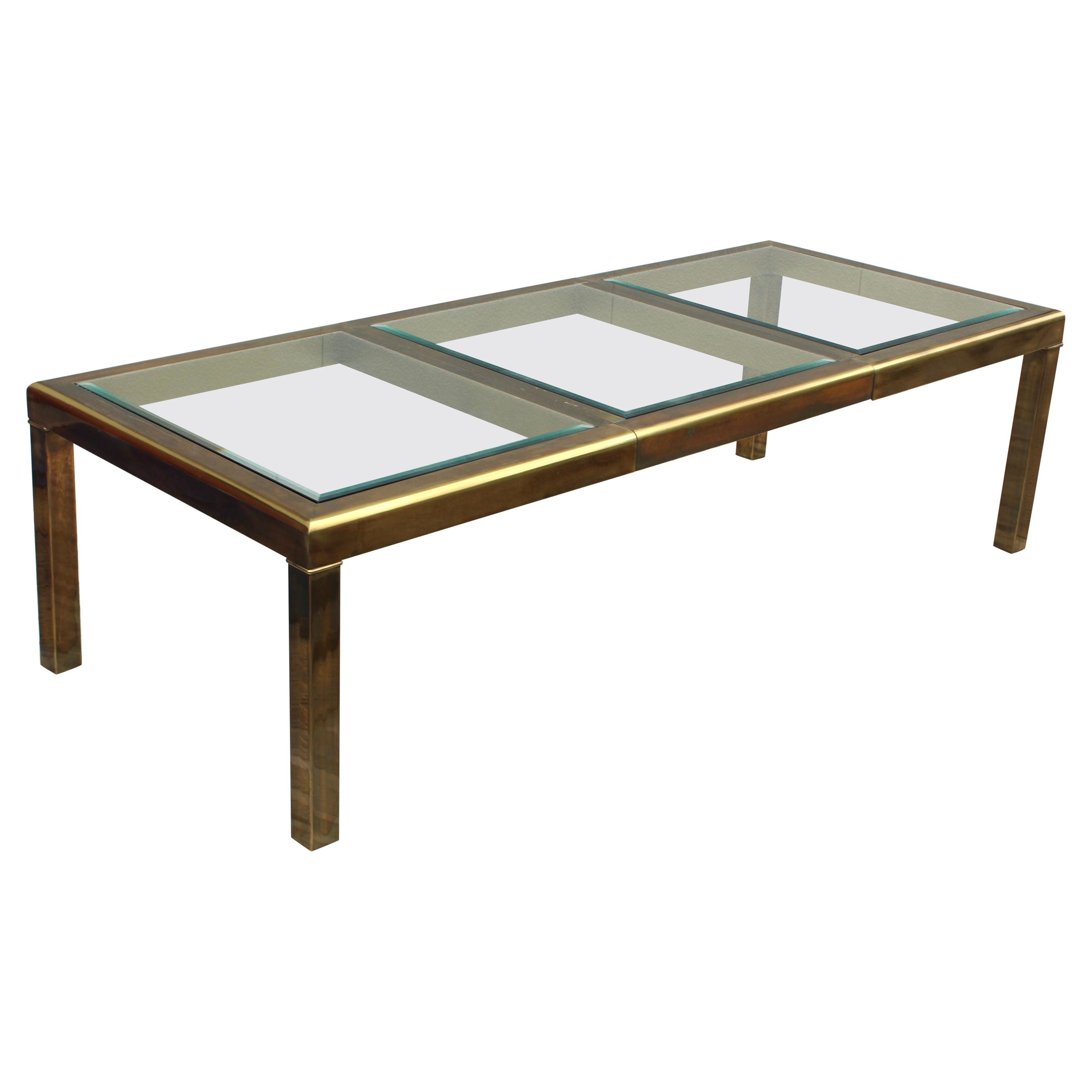 1970's Mastercraft Patinated Brass Dining Table