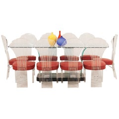 Set of 10 Mid-Century Lucite Faux Snake Skin Side Chairs