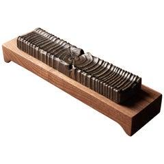 Incense Holder Modern Walnut Wood and Antiqued Bronze Casting