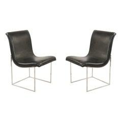 Mid-Century Milo Baughman Chrome and Black Vinyl Dining Chairs