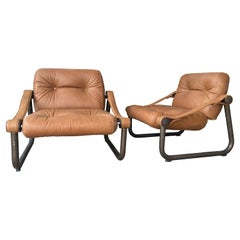 Mid-Century Modern Italian Pair of Leather and Brass Armchairs, 1970s