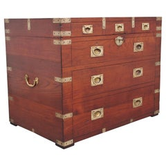 19th Century Teak and Brass Bound Campaign Trunk
