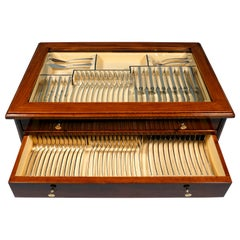 Silver Cutlery Set for 12 People in Showcase by Wilkens & Sons Germany, ca  1900