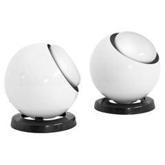 Post Modern Eyeball Desk Lamp in White in the Style of Harvey Guzzini