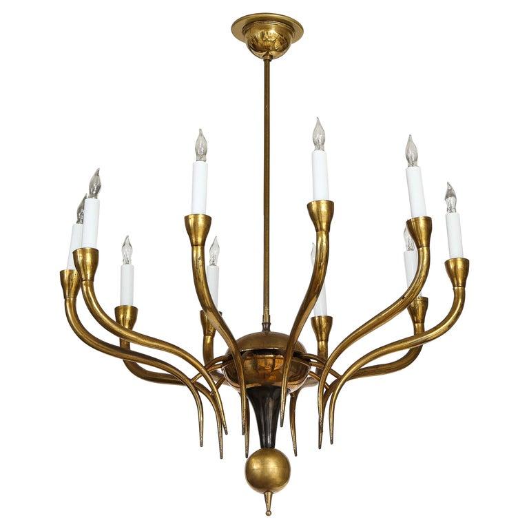 Italian Vintage Brass Ten Light Chandelier For Sale