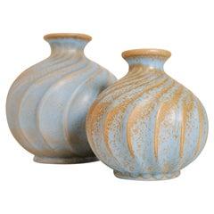 """Midcentury Pair of Ceramic Vases """"Turkos"""", Ewald Dahlskog , Bo Fajans, Sweden"""