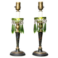English Painted Green Glass Luster Lamps