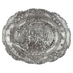 Antique German Hanau Silver Dish with David Teniers Style Engravings