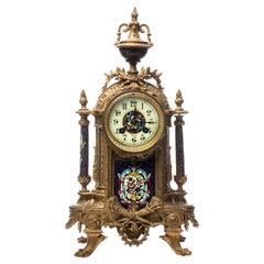 Rococo Revival Gilt Bronze & Enamel Mantel Clock