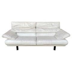 "Mid-Century Modern Italian Two and a Half Seat White Leather Sofa B&B ""Alanda"""