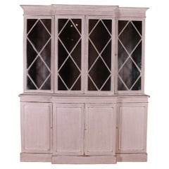 English Painted Breakfront Library Bookcase