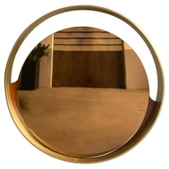 Mid-Century Modern Italian Round Gold Colored Mirror with Gilt Metal Frame