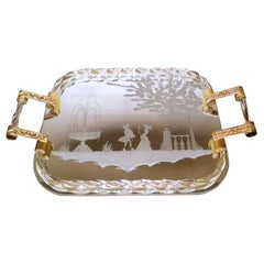 Murano Barovier Style Vanity Tray with Etched Mirror and Twisted Glass Rope
