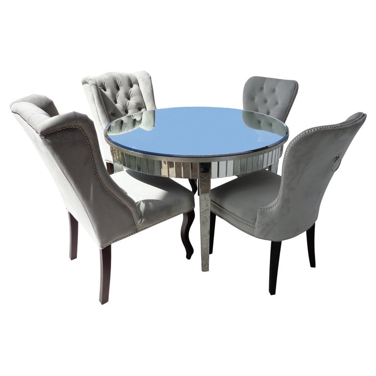 Mirrored Table and Archer Dining Chairs by Z Gallerie For Sale