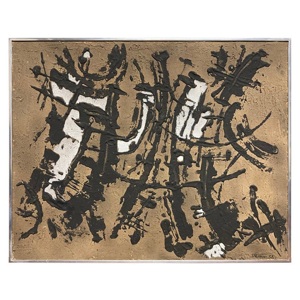 Italian Abstract Expressionist Painting by Ugo Sterpini, Signed and Dated 1958