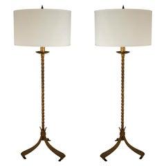 Pair of Mid-Century Gilt Wrought Iron Floor Lamps