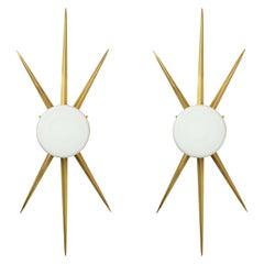 Pair of Italian Opaline Star Sconces