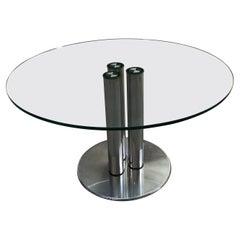 "Mid-Century Modern Italian Chrome and Glass Table Model ""Marcuso"" 2532 by Zanuso"