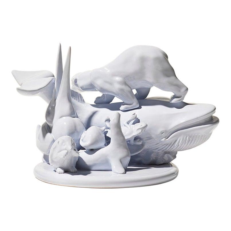21st Century Light Blue Sculpture by Ceramica Gatti, designer A. Anastasio