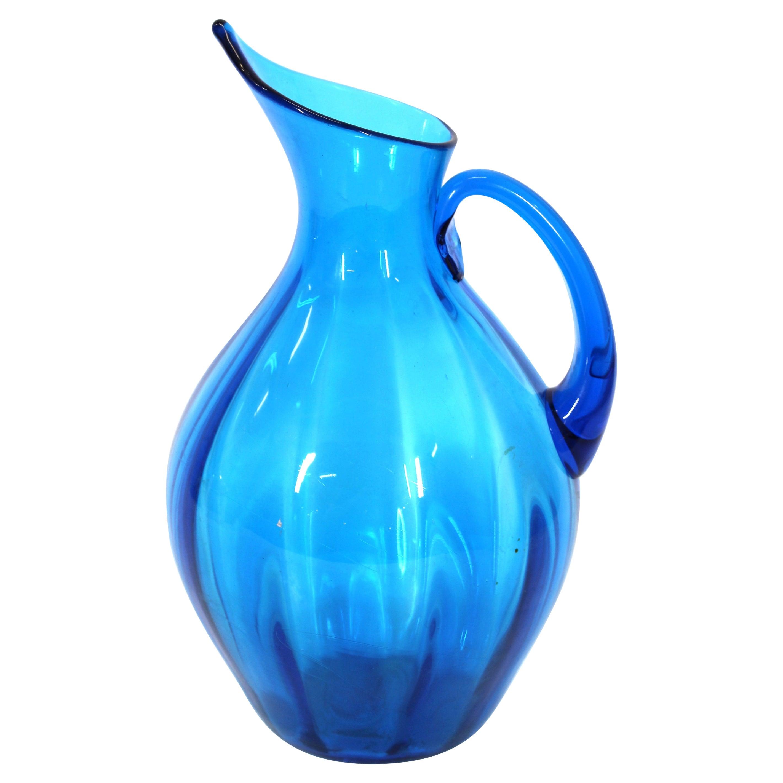 Blenko Mid-Century Modern Blue Glass Pitcher