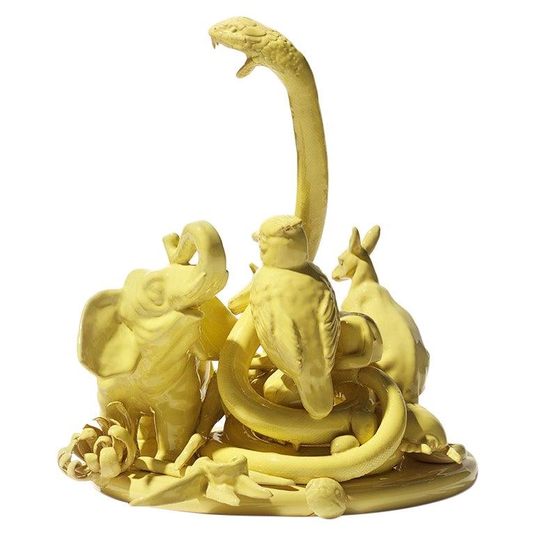 21st Century Yellow Sculpture by Ceramica Gatti, designer A. Anastasio