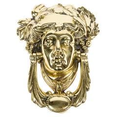 Brass Door Knocker with the Head of the Goddess Pamona, circa 1900