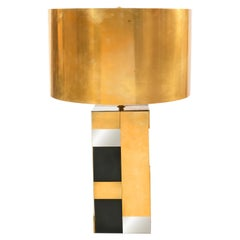 Contemporary Geometric Mixed Metal Table Lamp