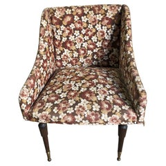 Original Armchair from the 60s, Fabric with Floral Motif