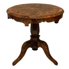 English 19th Century Burr Walnut Side Table