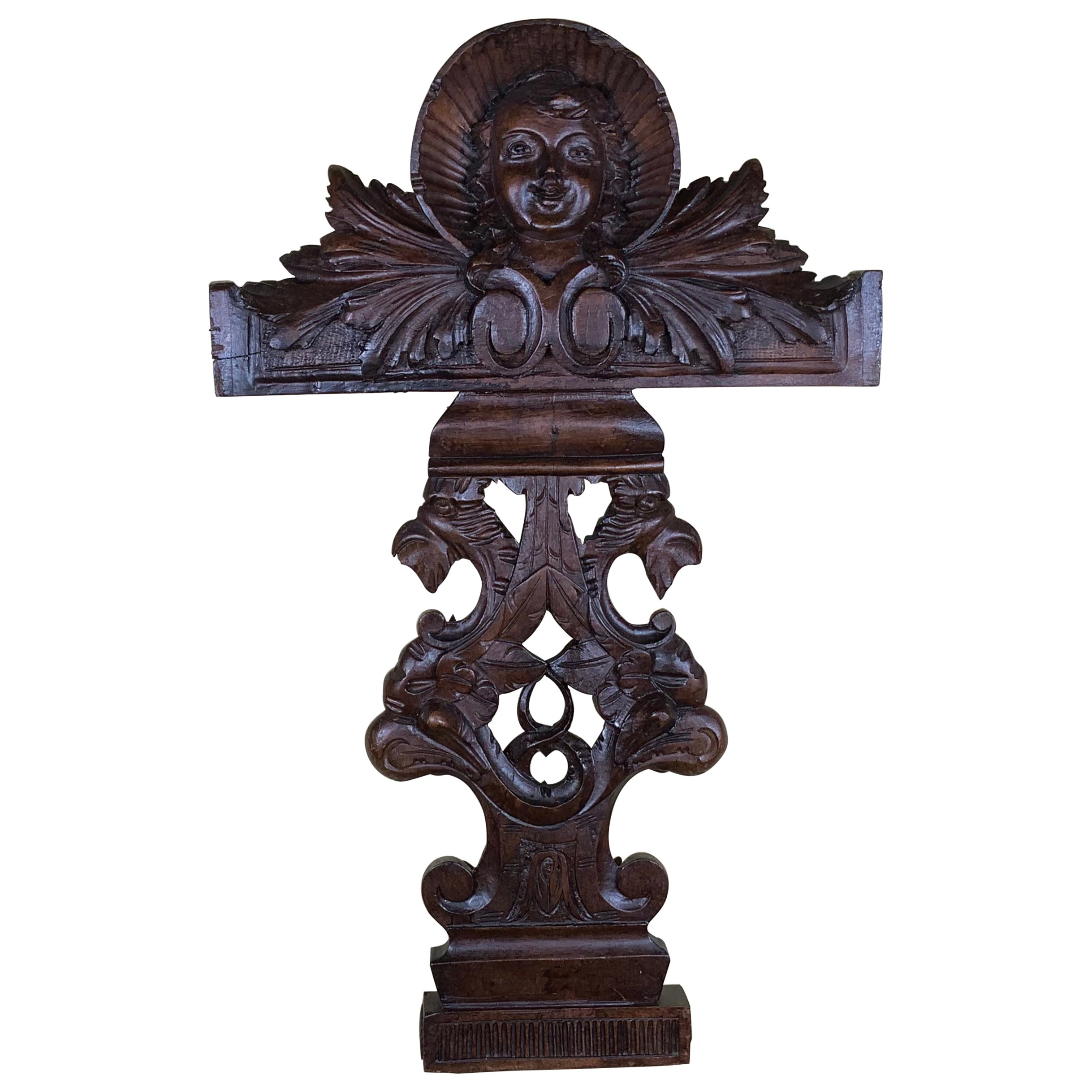 Antique Italian Hand Carving Wood Wall Hanging
