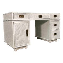 White Wicker and Faux Bamboo Writing Desk