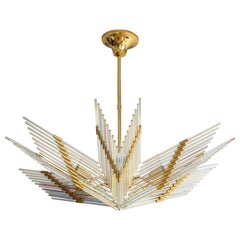 Gaetano Sciolari Iridescent and Gold Plated Chandelier