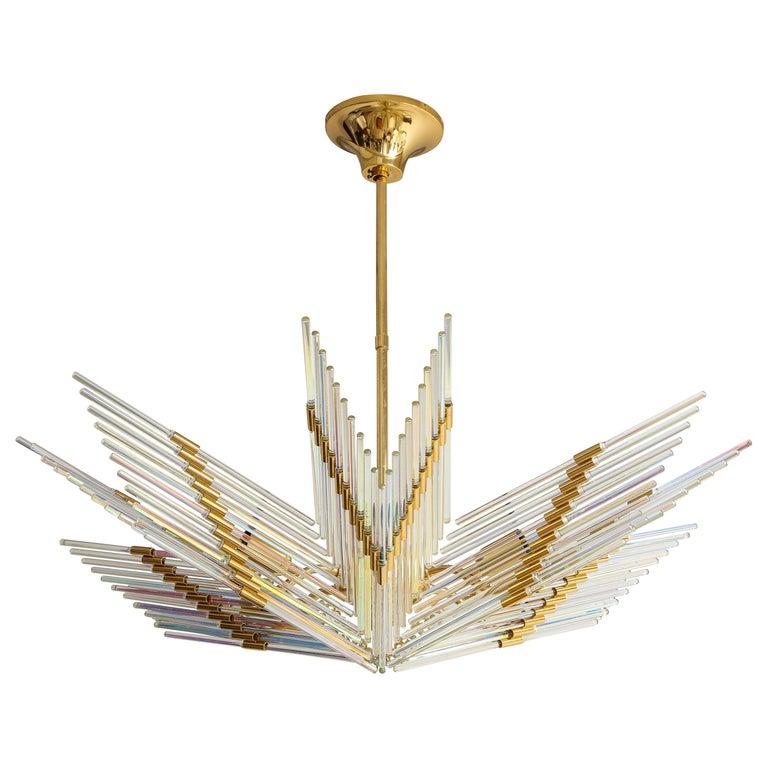 Gaetano Sciolari Iridescent and Gold Plated Chandelier For Sale